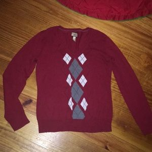 Sweaters - Red argyll pattern sweater